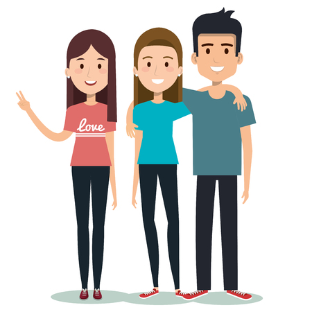characters embracing three friends on white background vector illustration Фото со стока - 83870346