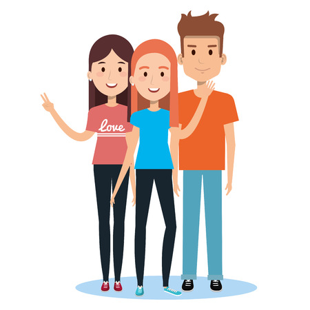 characters embracing three friends on white background vector illustration