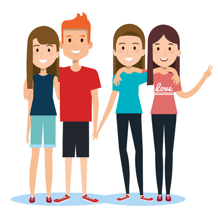 group of happy people friends together in casual clothes on a white background vector illustration Ilustrace