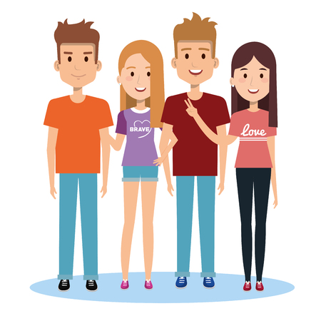 group of happy people friends together in casual clothes on a white background vector illustration Ilustração