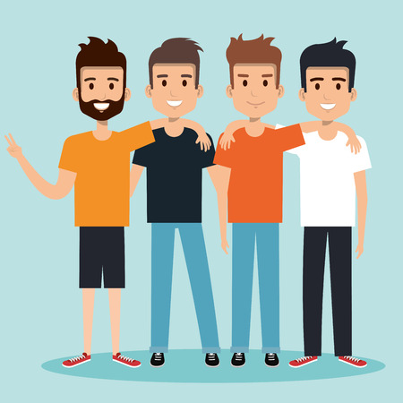 young men best friends hugging happy vector illustration