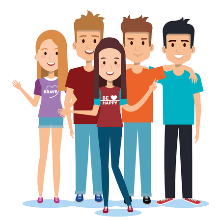 group of happy people friends together in casual clothes on a white background vector illustration Stock Illustratie