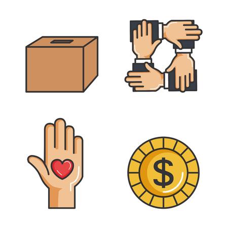 チャリティーや寄付を与えるし、貧しい人々 のベクトル図にあなたの愛を共有