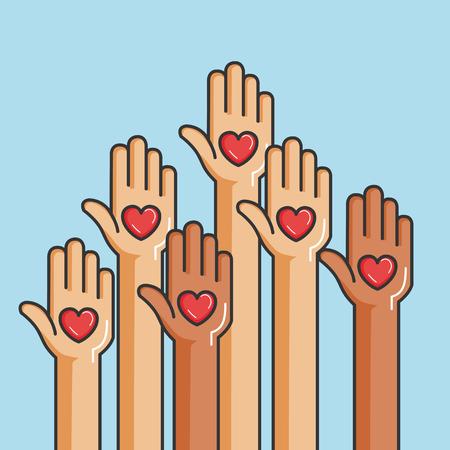 liefdadigheid en schenking geven en delen uw liefde aan arme mensen vectorillustratie