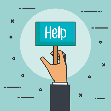 handen met aanplakbiljet voor bericht hulp donatie concept vector illustratie