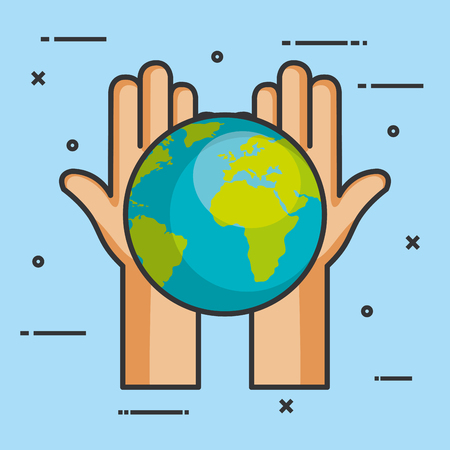 hands holding in palms a earth globe world charity symbol vector illustration