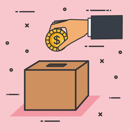make a donation sign hand pushing coin in box vector illustration
