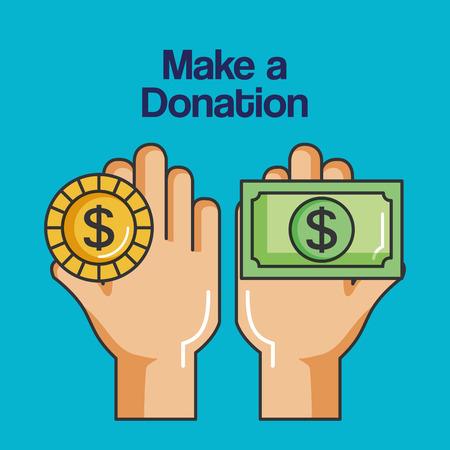 寄付金コインと紙幣のベクトル図を両手に署名  イラスト・ベクター素材