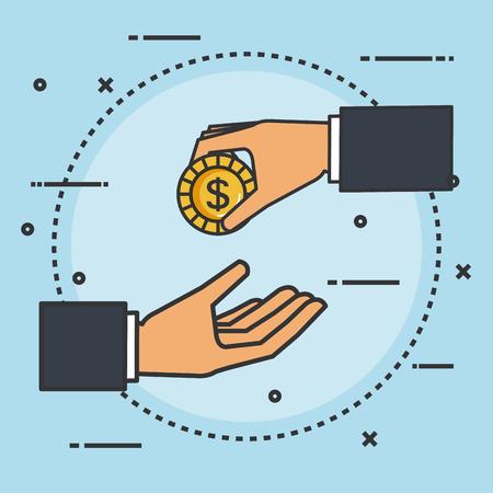 コインのお金のベクトル図を与える寄付サイン手を作る