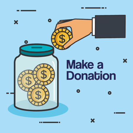 make a donation sign charity container money vector illustration