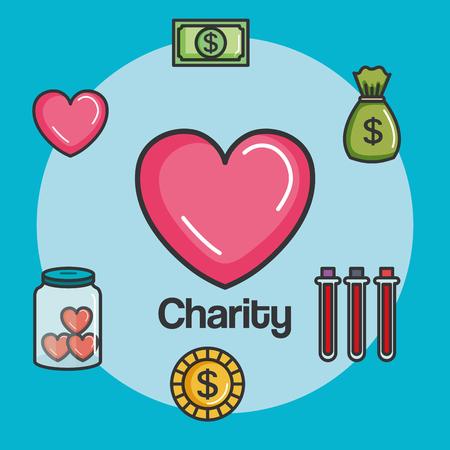 寄付チャリティーやボランティア活動の概念ベクトル イラスト