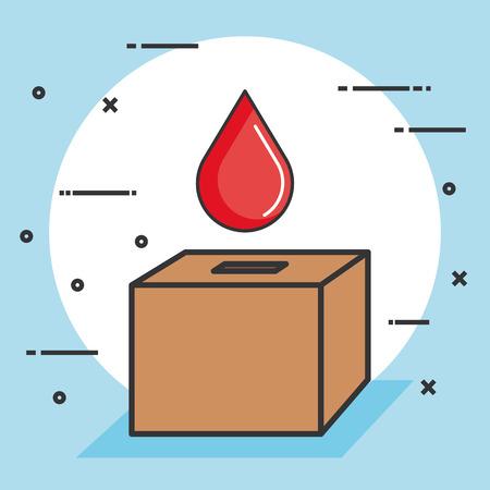혈액 드롭 기부 개념 벡터 일러스트와 함께 투표 상자