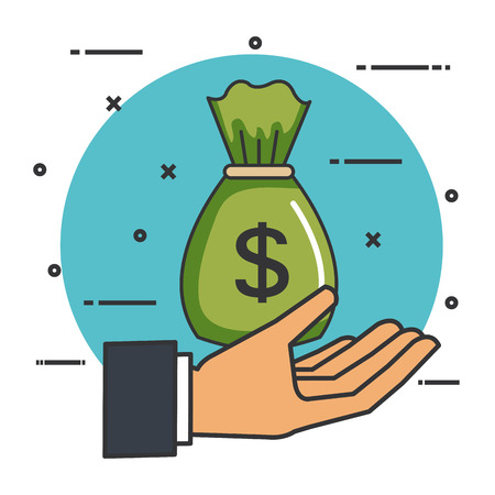 make a donation sign hand with bag money vector illustration Illustration