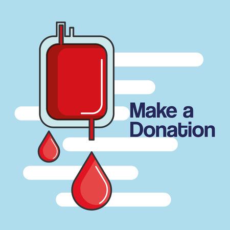make a donation bag blood healthy care vector illustration