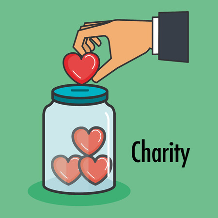 charity and donation give and share your love to poor people vector illustration Vettoriali