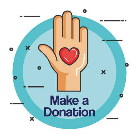 charity emblem hands holding heart icon vector illustration