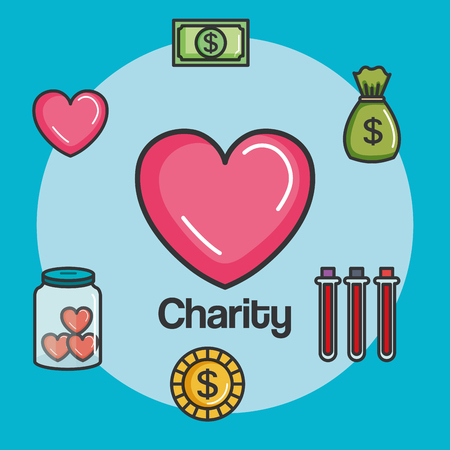 donation charity and volunteer work concept vector illustration Stok Fotoğraf