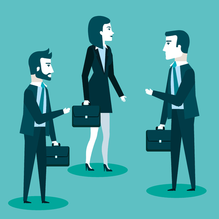 team of successful and confident business men and woman talk standing vector illustration Illustration