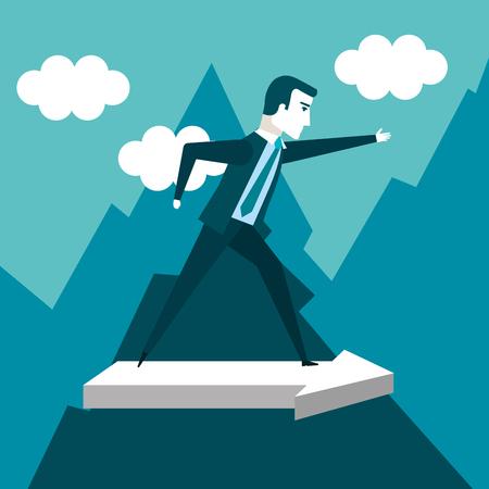 business man climbing on mountain with arrow going vector illustration Illustration