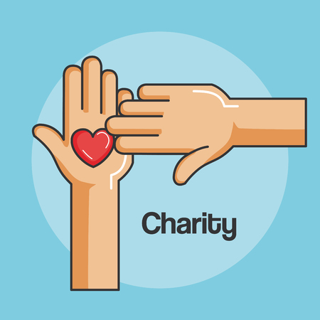 hands and heart icon of kindness and charity vector illustration