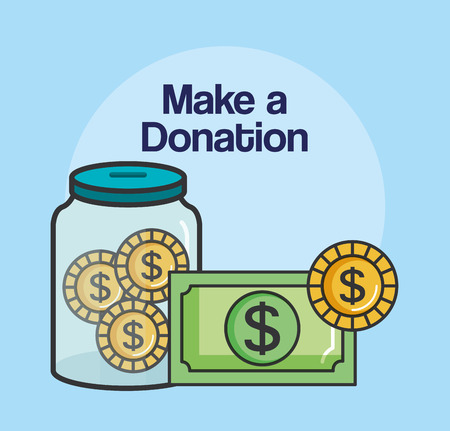 make a donation sign container money coin charity symbol vector illustration