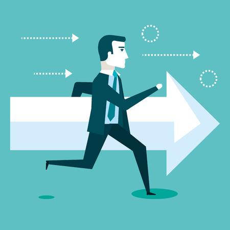financial success running man arrow business vector illustration