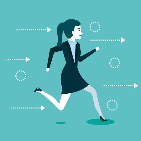 business woman people running to success vector illustration