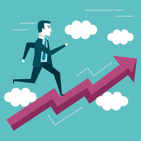 ビジネス ビジョンのベクトル図を矢印グラフで実行している実業家