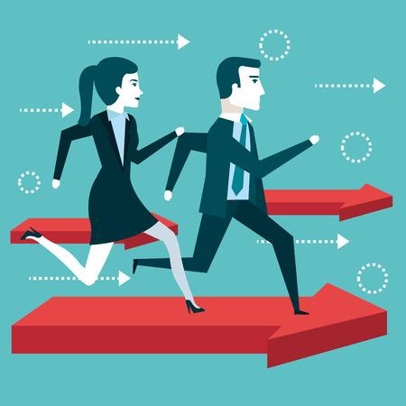 ビジネス人男と女の金融矢印成功ベクトル図を実行します。