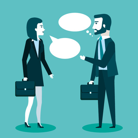 two business professionals colleagues man and woman talking discussing a project vector illustration Stock Vector - 83870778