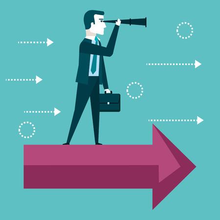 zakenman visie concept op zoek door telescoop staande op een rode pijl vectorillustratie Stock Illustratie