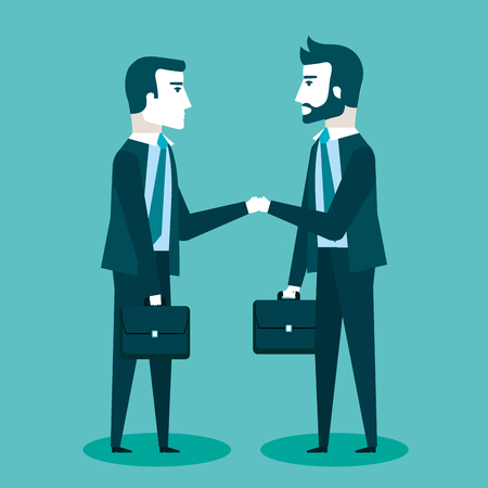 two businessmen in suits are handshaking communication business vector illustration