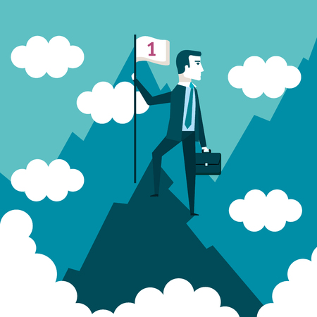 successful businessman holding flag on top of mountain success concept vector illustration Illustration