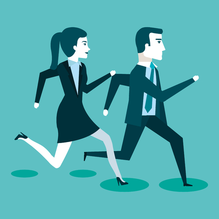 corporate active competition business people on the rush vector illustration Illustration