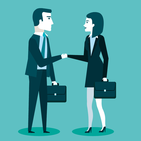 business cooperation handshake of two business partners with briefcase vector illustration