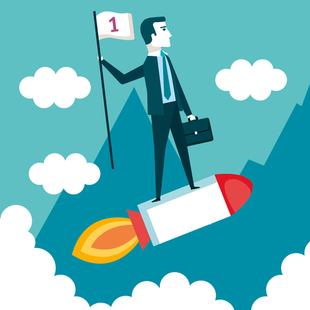 business man on a rocket with flag cloud landscape star up vector illustration Çizim