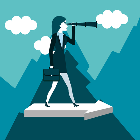 business woman has a telescope standing on arrow vector illustration