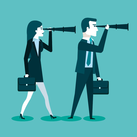 businessman and business woman with spy glasses for successful cooperation vector illustration