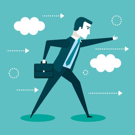 ブリーフケース ベクター イラストを描いて歩くビジネスマン