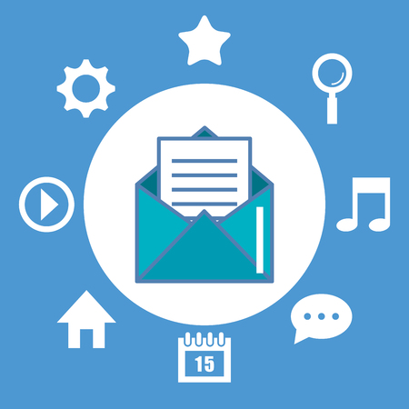 email envelope and icons multimedia digital vector illustration