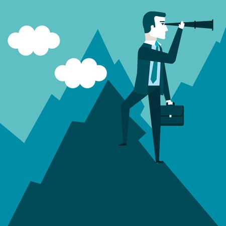 성공 기회를 찾고 망원경을 사용하여 산 꼭대기에 사업가 스탠드 미래의 비즈니스 벡터 일러스트 레이션 일러스트