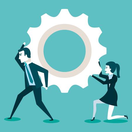 実業家やアイデアを作成するビジネスマンは巧妙な仕事のベクトル図の協力します。