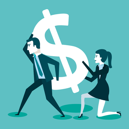 zaken man en vrouw met dollarteken vectorillustratie Stock Illustratie