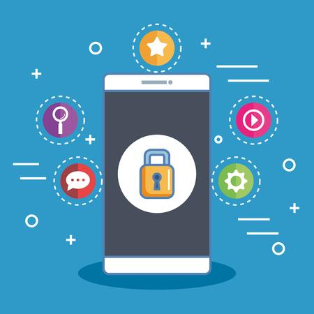 安全なショッピング スマート フォン デジタル オンライン アイコン ベクトル図  イラスト・ベクター素材