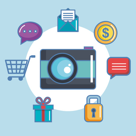 camera picture with social media icons vector illustration