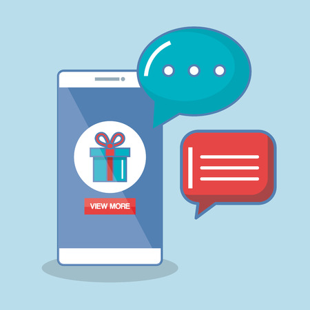 Buy now in the cellphone order chatting online vector illustration