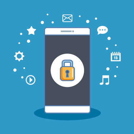 Secure shopping cellphone internet information icon vector illustration