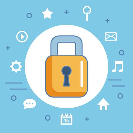 Secure shopping icon digital internet vector illustration Ilustração