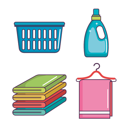 laundry and cleaning domestic housekeeping set vector illustration Zdjęcie Seryjne - 83870819