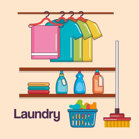 laundry service clean hanger clothes basket broom detergent vector illustration